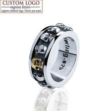 Ювелирные изделия стерлингового серебра 925 стерлингового серебра старинные кольца для женщин прохладно ретро поворотный золотой череп кольцо мужчины выгравировать имя логотип(China (Mainland))
