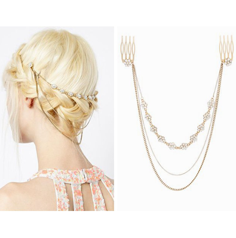 2016 Wholesale Handmade flower simulated pearl hair pins gold hair jewellery for women girls alloy hair comb(China (Mainland))