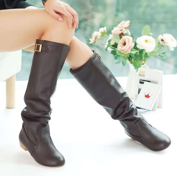 New Big size 34-43 Women's boots Autumn Spring Low-heeled knee-high boots Zapatos mujer Fashion Sweet Ladies boots Cute Hot(China (Mainland))