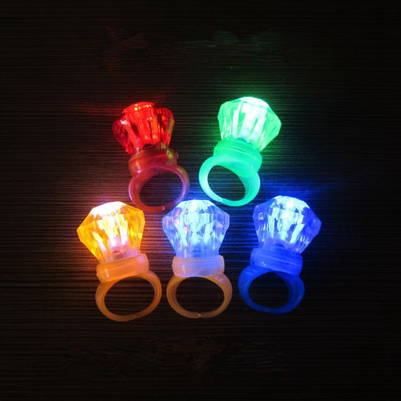 72pcs/lot Christmas Party Lighting Toy Small Plastic Flashing Diamond Finger Rings Toys LED Glowing Kids Finger Rings Gadget(China (Mainland))