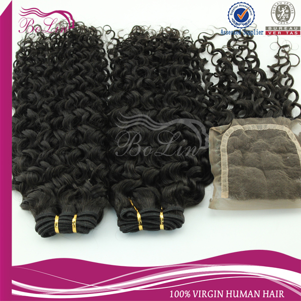 3 bundles of brazilian hair and closure cheap human hair with closure piece curly weave human hair