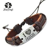 New Brand Fashion Vintage Genuine Leather Bracelets & Bangles I Love Jesus Rope Bracelet for Women Men Jewelry 2016(China (Mainland))