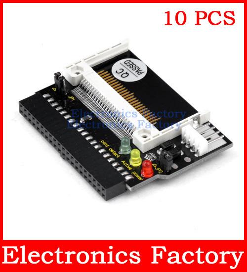 10PCS DUAL Compact Flash CF to 3.5 Female 40 Pin IDE Hard Drive Adapter Converter PCI Card Bootable 5V Led Indicator(China (Mainland))