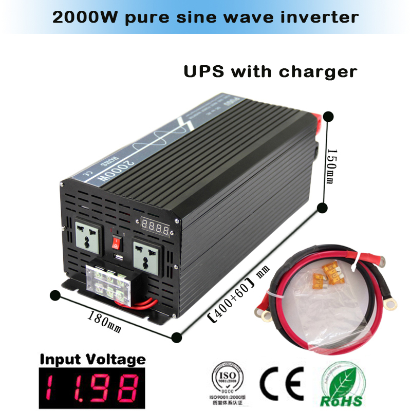 Three years warranty 2000 watt 24v dc to 110v ac pure sine wave ups inverter with charger(China (Mainland))