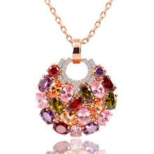Trendy Alloy Link Chain Colorful Round Crystal Pendant Necklace Fashion Design Flower Jewelry Zircon Necklaces For