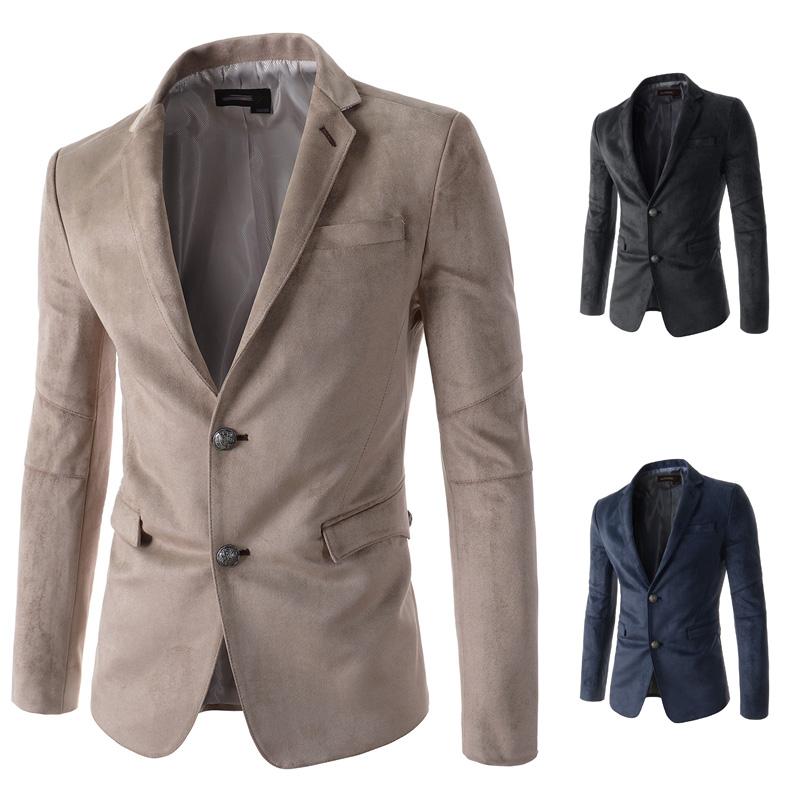 2015 New Design Cashmere Warm Blazer Men Casual Veste Homme Man Slim Fit Fashion Velvet