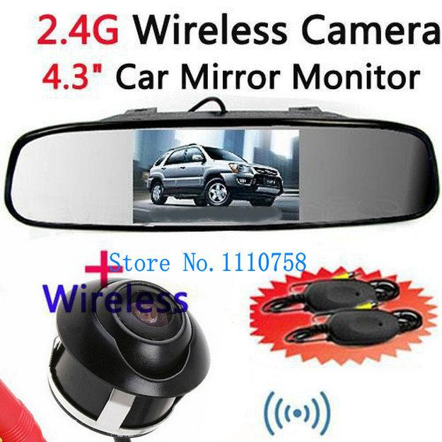 "Wireless Car Rear View camera 360 degree CCD Revers Parking Camera+4.3"" Mirror Screen Monitor Car Rearview Kit(China (Mainland))"