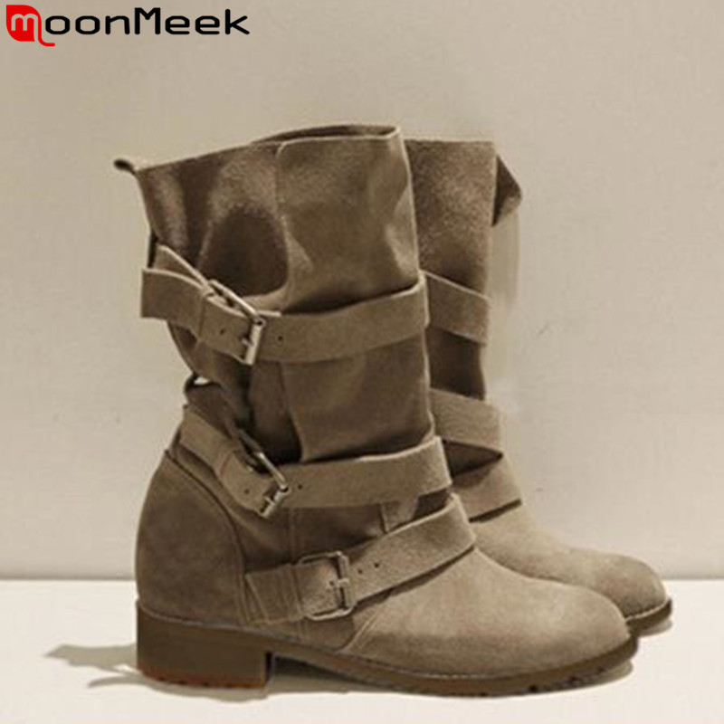 2016 winter autumn full genuine leather women ankle boots fashion buckle lady motorcycle martin boots