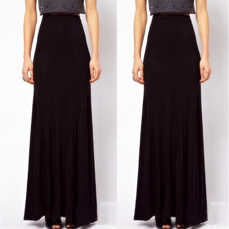Long Black Cotton Skirt 42