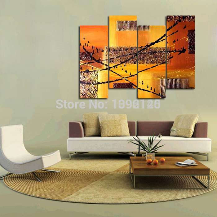 Handpainted Modern 4 Pcs/set Artwork Oil Painting On Canvas Pictures Abstract Oil Painting Dishes Behind The Couch No Frame(China (Mainland))