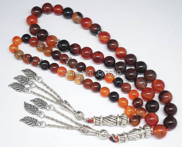 Muslim 33 Islamic Reddish Black Agate Prayer Beads 2pcs / Lot 8mm/10mm Prayer Rosary T62-Y Tasbih Free Shipping()