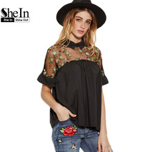 Buy SheIn Summer Tops Black Flower Embroidered Sheer Neck Ruffle Cuff Tie Back Top Woman Short Sleeve Vintage Blouse for $14.97 in AliExpress store