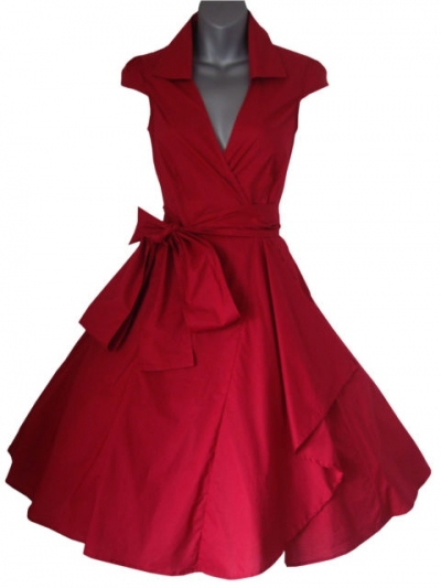 woman summer dress 2015 red vintage rockabilly evening party dresses plus size retro V-neck prom swing dress with belt hot sale(China (Mainland))