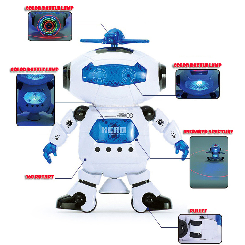 Dancing robot robot rotating electric light music infrared Hot Toys Give your children endless joy(China (Mainland))
