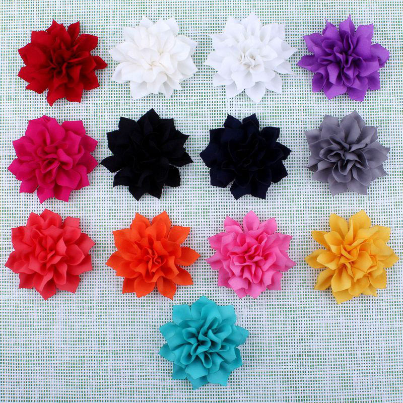 """30pcs/lot 3.6"""" 13Colors Hot Artificial Double-Layer Lotus Flowers For Baby Hair Accessories Winter Fabric Flowers For Headbands(China (Mainland))"""
