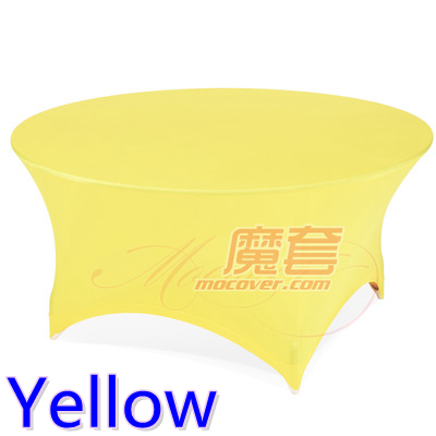 Spandex table cover Yellow color round lycra stretch table cloth fit 5ft-6ft round wedding hotel banquet and party decoration(China (Mainland))
