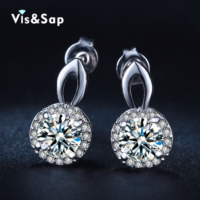 18K White Gold Plated Wedding earrings for women wholesale vintage earring round clear CZ diamond fashion jewelry bijoux VSE037(China (Mainland))