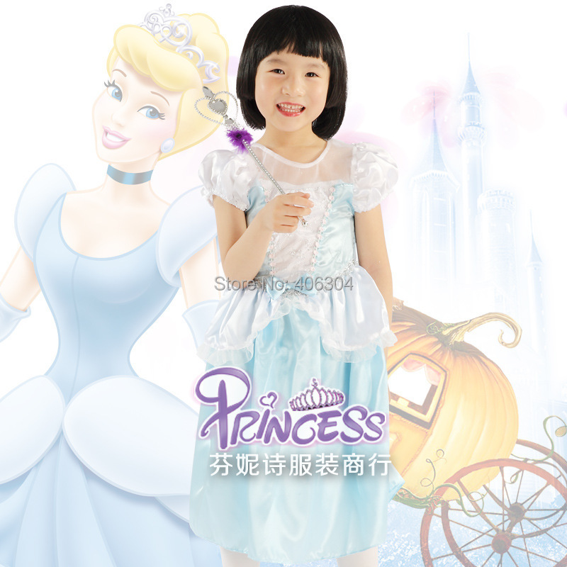 ,Children movie blue Cinderella princess dress Cosplay party costume - HH Party Costume Store store