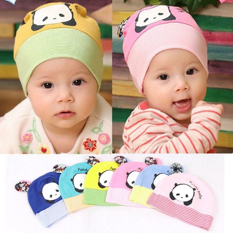 Spring&Autumn New Baby Kids Infant Cap Panda Cotton Knited Boy Girl Beanie Cap Hat(China (Mainland))