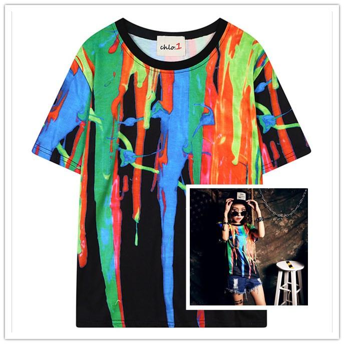 2015 SWAG Harajuku summer style tie dye Digital Watercolor doodle t shirt women street hippie t-shirt tops gagaopt Wt-63(China (Mainland))