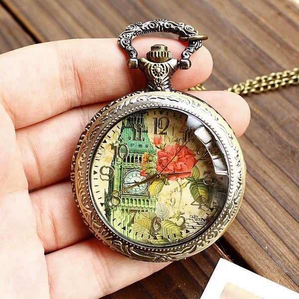 Fashion restoring ancient ways Long chain style bronze pocket watch/quartz watch pendant/ wedding gift/ alloy clamshell watch(China (Mainland))