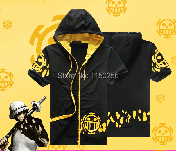 Free Shipping anime one piece Cosplay Costume Trafalgar Law Jaceket/Coat Short Sleeve T-Shirt Men/Women Hoody New(China (Mainland))