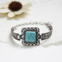 2015 Christmas gifts New Vintage style Tibetan Silver Square turquoise bracelet bangle jewelry for women Accessories!B405(China (Mainland))