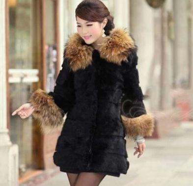 2015 Large Fur Collar Hooded Coats Faux Fur Outerwear Women Imitate Rabbit and Raccoon Dog Fur Long Jacket with Striped Out YR31(China (Mainland))