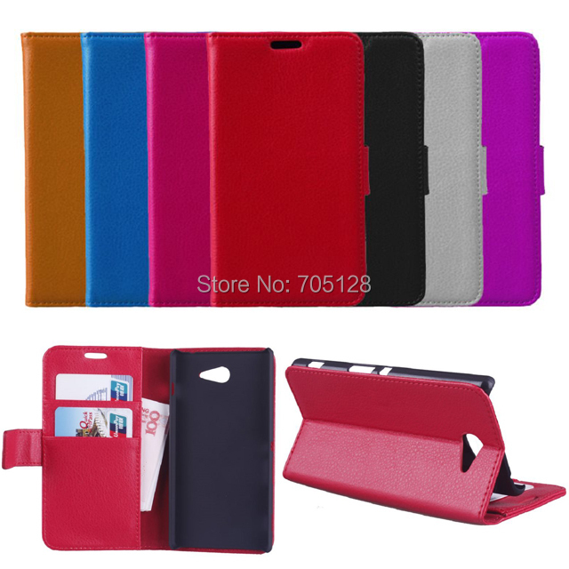 100pcs/lot Lichee Series Book Style Leather Case With Stand For Sony Xperia M2 S50H(Hong Kong)