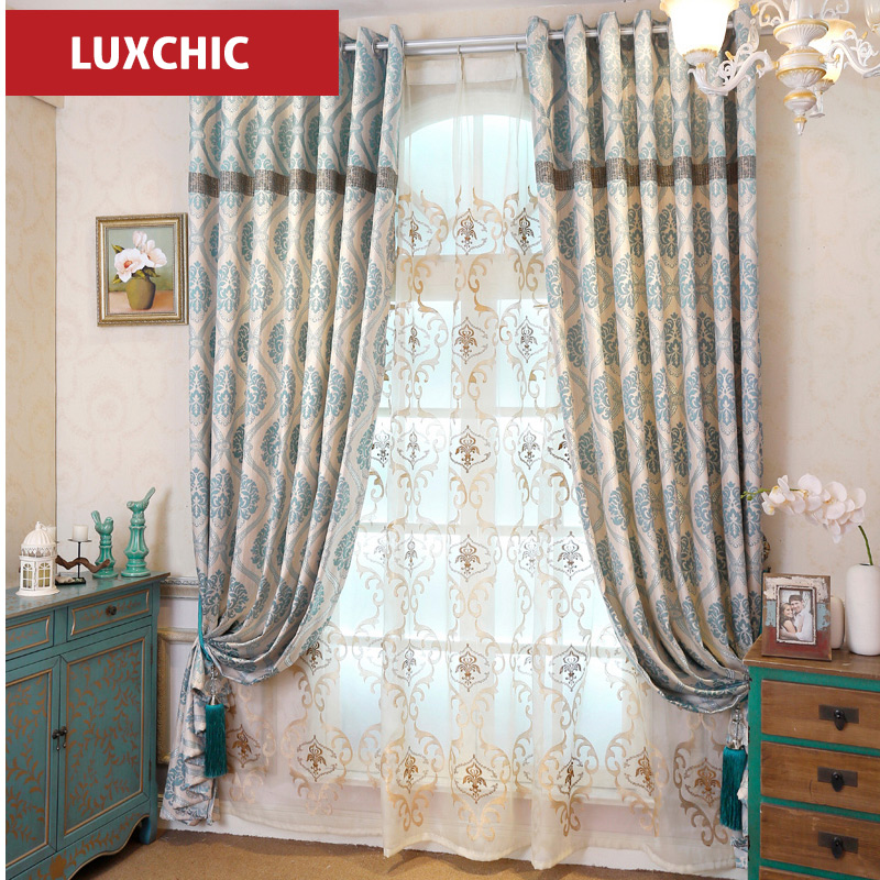 2016 New curtain and tulle Blue Embroidered Curtains for Living Room Bedroom Luxury Curtains Window Drapes(China (Mainland))