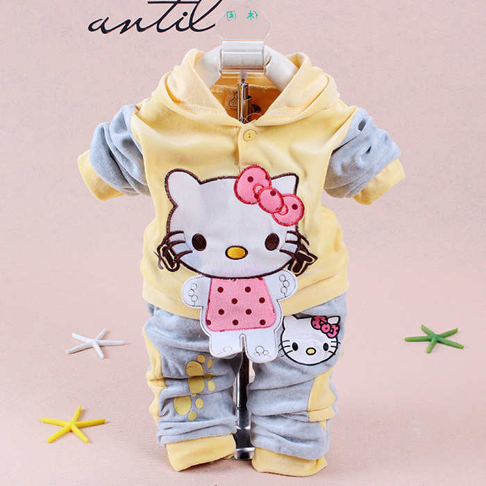 New 2015 Spring Baby Kids Set Velvet Hello Kitty Cartoon T Shirt Hoodies Pant Twinset Long Sleeve Velour Children Clothing Sets(China (Mainland))