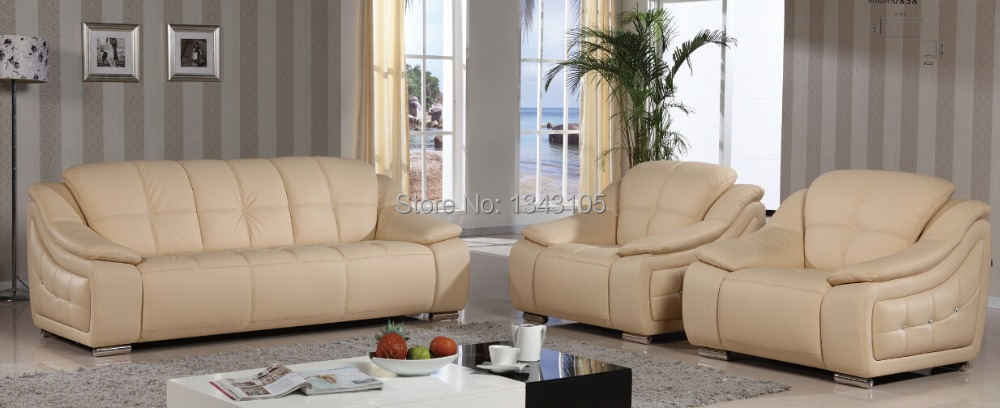 Buy LBZ 0838 Beige Sectional Leather Sofa Living Room Leath