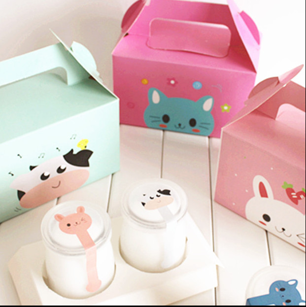 Cute animal prints Muffin cups Cakes Pastry Cookies Baked goods Biscuit package boxes Packaged for sale 10PCS(China (Mainland))