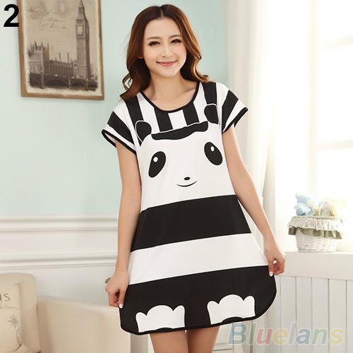 NewGreat Cute Women s Cartoon Polka Dot Sleepwear Sleepshirts Short Sleeve Sleepshirt 2MY2 5PYN 87UU