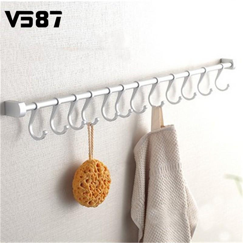 8/10/12 Hooks Hanger Holder Rack Kitchen Utensils Gadget Cooking Tools Cookware Spoon Knife Pot Pan Hook Rail Bar(China (Mainland))