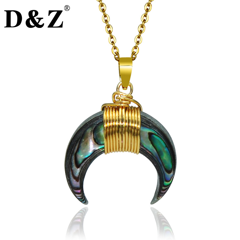 Handmade Wire Wrapped Bone Horn Pendant Necklace Magic Color Gothic Charm Necklace for Men Women(China (Mainland))