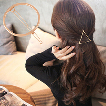 Women's Simple Elegant Metal Geometric Round Triangle Moon Hairpin Hair Clip In Stock Fast Ship(China (Mainland))