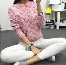 2015 New Women's Coarse Wool Woven Grid Variegated Plaid Warm Spring Autumn and Winter Casual Long Sleeved Pullover(China (Mainland))