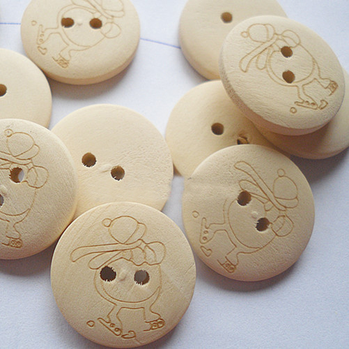 20mm White ski little girl pattern wood buttons for craft sewing mixed crystal handmade diy gift/Clothes/jewelry/headwear(China (Mainland))