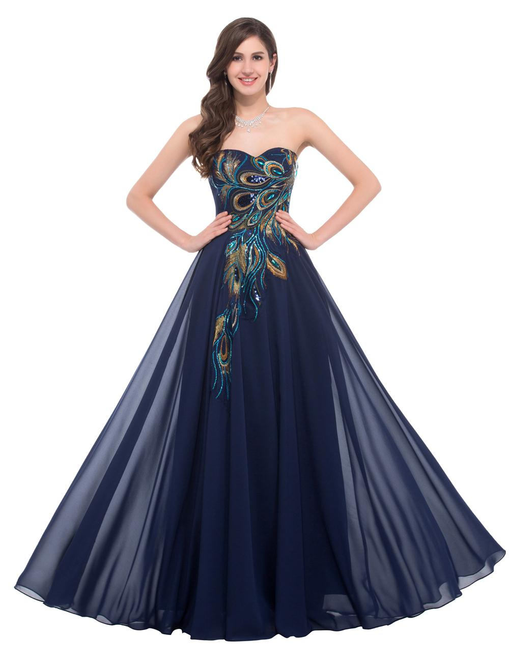 2016 Navy Blue Cheap Long Peacock Bridesmaid Dresses Grace