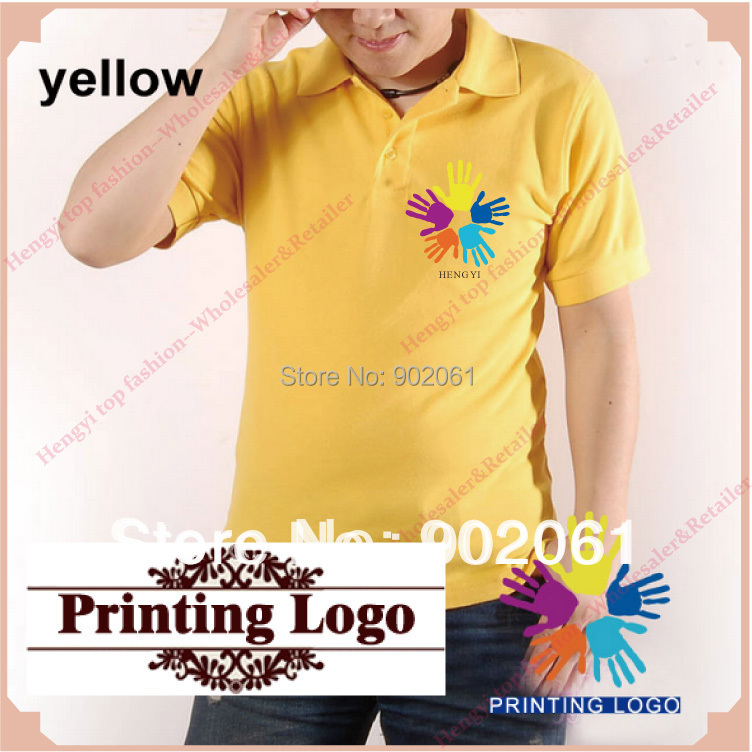 custom logo t shirt professional design customized shirts custom embroidered Best selling mens Blank solid XXXL shirts yellow HY(China (Mainland))