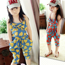 Kids Clothing Sets Chiffon Heart Pattern One Peice Jumpsuit Cropped Trousers 2 7Y