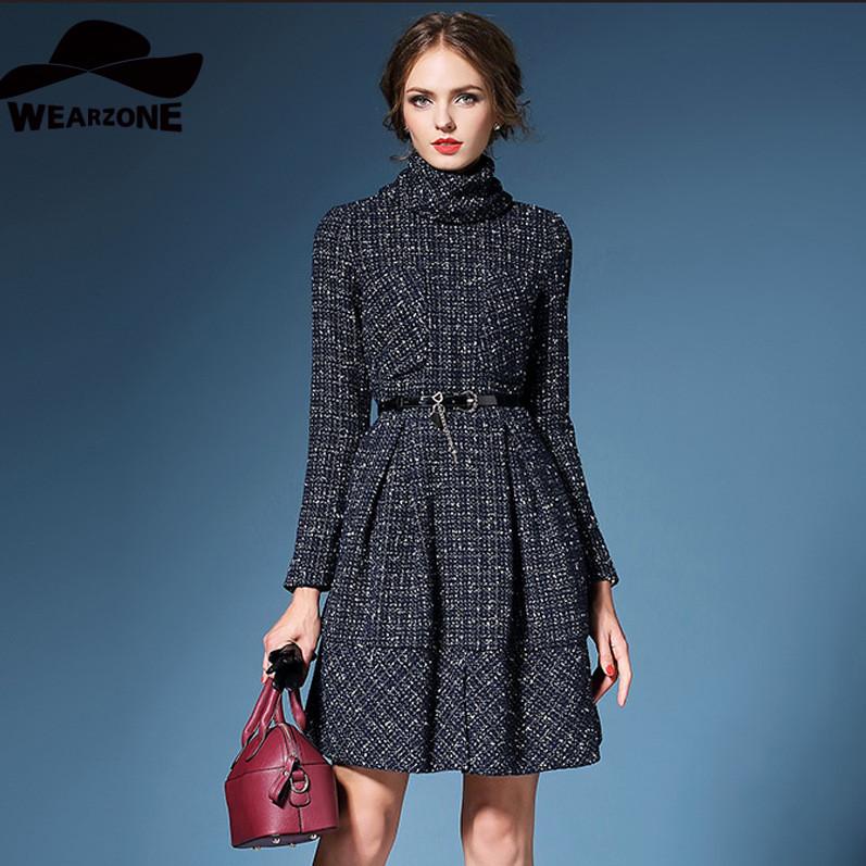2015 autumn and winter new women's gold collar Europe tweed slim slim long sleeved dress
