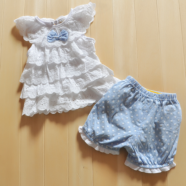 Baby Girl Cake layers of lace Short sleeve tops + shorts suits Blue Polka Dot Polka Dot Cake Kit for Baby's Sets(China (Mainland))