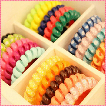 10PCS/LOT Good quality telephone wire hair band candly color rubber hair holders elastic for the hair Girl Women #JH047