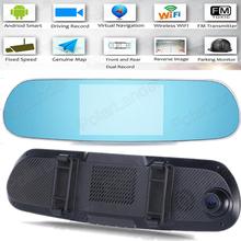 Car DVR 5-inch dual-lens mirror DVR 1080P Adroid GPS WIFI (China (Mainland))