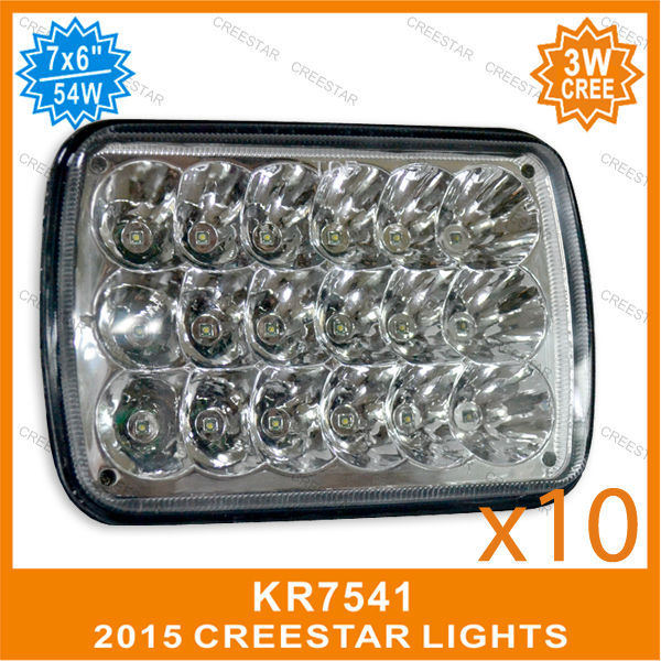 10pcs/lots sealed beam best sale product with high /low beam 54W used for semi-truck led lite square 7inch x 6inch H/L beam(China (Mainland))
