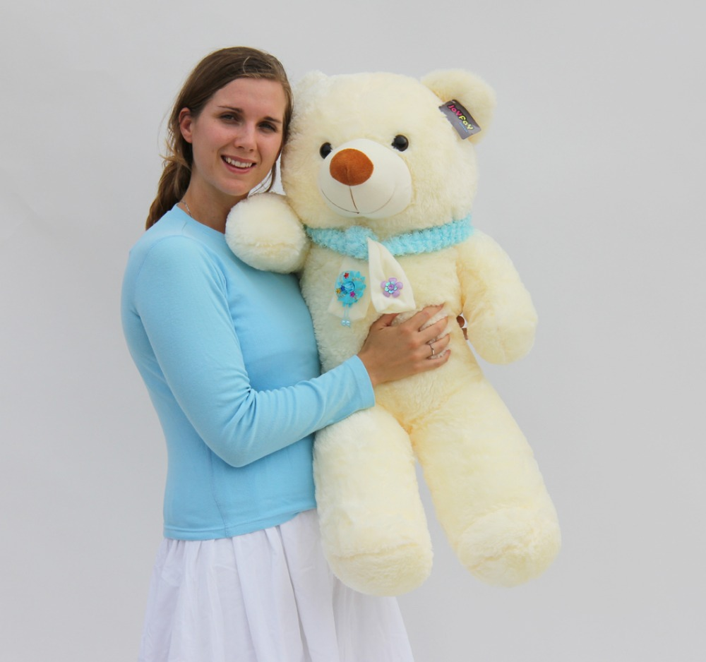 "Joyfay 39"" 100 cm White Giant Teddy Bear Huge Stuffed Plush Animal Big Soft Toy Best Gift for Birthday Valentine Anniversary(China (Mainland))"
