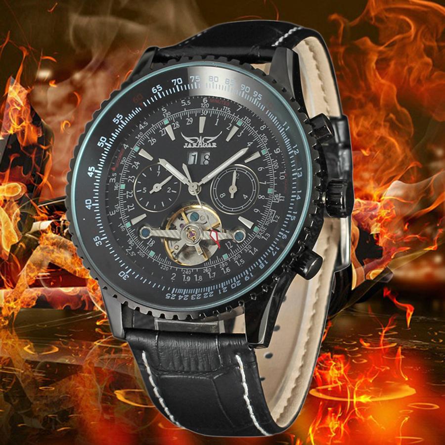 Luxury Brand Automatic Watch Men Chronograph 6 Hands Mechanical Watches Men Multifunction Wrist Watch PU Leather Erkek Kol Saati<br><br>Aliexpress