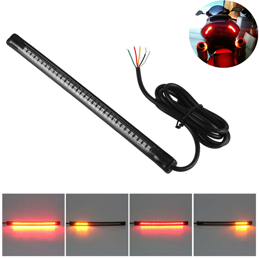 """Universal Flexible 32LED Motorcycle Light Strip Tail Brake Stop Turn Signal Light License Plate Lamp 8"""" Red and Amber Led Color(China (Mainland))"""
